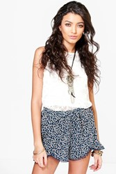 Boohoo Paisley Woven Crochet Trim Runner Shorts Navy