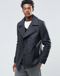 Selected Merser Wool Mix Pea Coat Grey Black