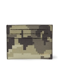 Givenchy Camouflage Print Faux Leather Cardholder Green
