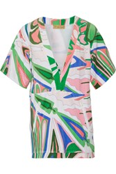 Emilio Pucci Printed Cotton Blend Terry Coverup Green