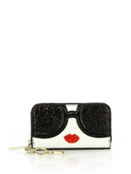Alice Olivia Stace Face Leather And Glitter Wallet Multi