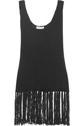 Zeus Dione Iole Fringed Knitted Cotton Blend Top Black