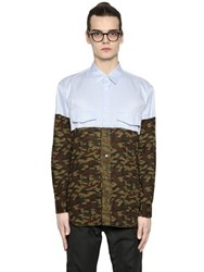 Comme Des Garcons Striped And Camo Cotton Poplin Shirt