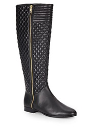 Saks Fifth Avenue Diamond Quilted Leather Boots Black