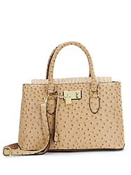 London Fog Ostrich Embossed Faux Leather Satchel Sand