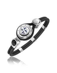 Forzieri Windrose Stainless Steel And Rubber Bracelet Silver