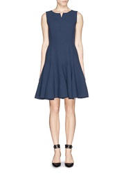 Armani Collezioni Notch Neck Sleeveless Crepe Dress Blue