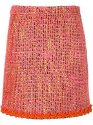 Boutique Moschino Mid Rise Knitted Skirt Pink And Purple