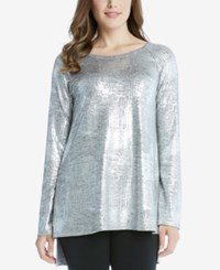 Karen Kane High Low Metallic Tunic Silver