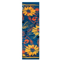 Bianca Elgar Orange Flowers Summer Oblong Scarf Black White Blue