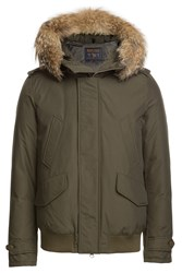 Woolrich Polar Down Bomber Jacket With Fur Trimmed Hood Green