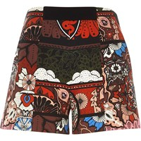 River Island Womens Red Paisley Print High Waisted Shorts