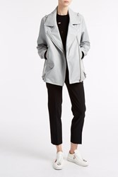 Acne Studios Swift Leather Biker Jacket Grey