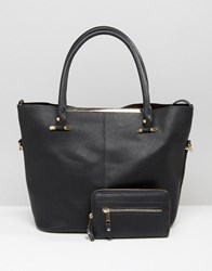 Oasis Gold Trim Shopper Bag Black