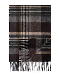 Bloomingdale's The Men's Store At Cashmere Herringbone Plaid Scarf Chocolate Camel Black