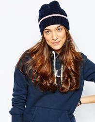 Jack Wills Frenchay Cable Beanie Navypink