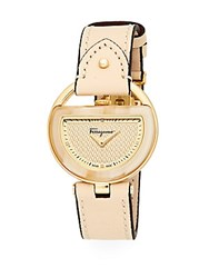 Salvatore Ferragamo Buckle Stainless Steel And Leather Strap Watch Nude