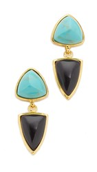 Lizzie Fortunato Graphic Shield Earrings Gold Aqua Black