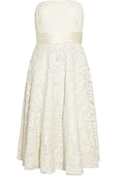 Mikael Aghal Appliqued Tulle Dress White