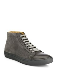 Saks Fifth Avenue Mix Media Leather High Top Sneakers Wine Grey