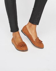 London Rebel Fringe Loafers Tan Mf