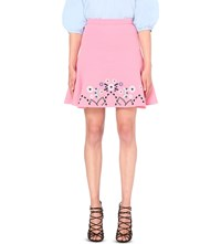 Peter Pilotto Embroidered Wool Crepe Skirt Pink