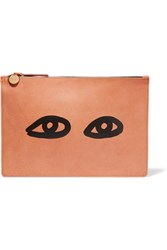 Clare V. V Margot Printed Leather Clutch Tan