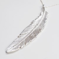 Nighthawk Jewelry Fly Right Mega Feather Necklace Sterling Silver
