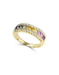 Effy Watercolors Multi Colored Sapphire And Diamond 14K Yellow Gold Ring 0.13 Tcw