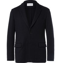 Tomorrowland Unstructured Wool Blend Blazer Navy