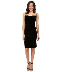Laundry By Shelli Segal Stretch Velvet Shirred Cocktail Dress Black Women's Dress