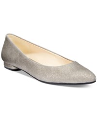 Nine West Onlee Pointed Toe Flats Women's Shoes Pewter Metallic