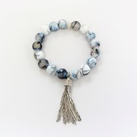 Dripping In Gems Fringe Tassel Bracelet Collectionblue Gray White Fire Agate