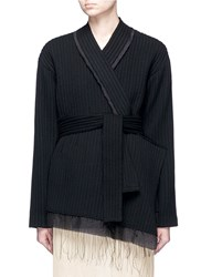 Ms Min Asymmetric Chunky Wool Ribbed Wrap Jacket Black