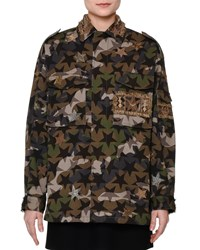 Red Valentino Star Embroidered Camouflage Field Jacket Green Camo Women's