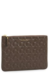 Women's Comme Des Garcons 'Embossed Clover' Leather Zip Up Pouch Brown