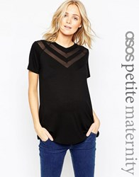 Asos Maternity Petite Top With Sheer And Solid Chevron Black