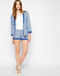 Colorblock Color Block Short In Baroque Print Blue