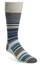 Nordstrom Men's Men's Shop Stripe Socks Light Heather Grey Teal