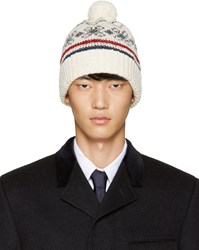 Thom Browne Off White Patterned Beanie