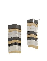 Robert Lee Morris Armored Architecture Multi Tone Layered Linear Earrings