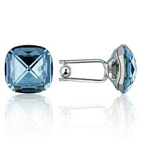 Forzieri Crystal Silver Plated Cufflinks Turquoise