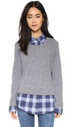 Monrow Plaid Double Layer Sweatshirt Dark Heather