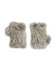 Surell Rabbit Fur Fingerless Gloves Grey