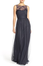 Women's Nouvelle Amsale 'Chandra' Illusion Yoke Lace And Tulle Gown Navy