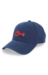 Harding Lane Lobster Needlepoint Baseball Cap Navy Blue