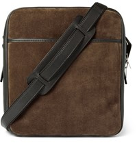 Tom Ford Leather And Suede Messenger Bag Dark Brown