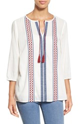Women's Caslon Embroidered Split Neck Peasant Blouse Ivory Red Embroidery