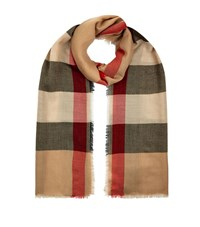 Burberry Shoes And Accessories Lightweight Check Cashmere Scarf Female Blue