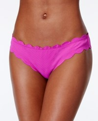 Jessica Simpson Under The Sea Scalloped Edge Textured Hipster Bikini Bottoms Women's Swimsuit Orchid